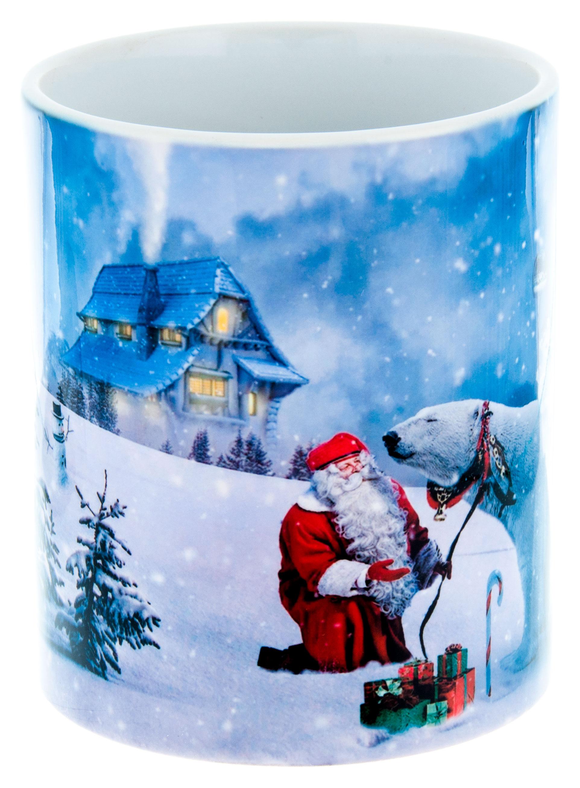 Керамическая кружка 3Dollara С Новым годом! Санта Клаус и белый медведь. MUG0059