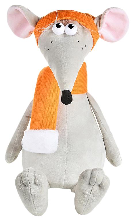 """Мягкая игрушка """"Крыс Денис в оранжевой шапке и шарфе"""", 34 см Maxitoys"""