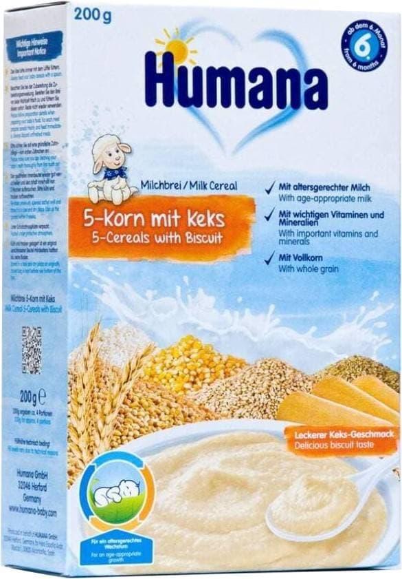 Купить Каша Humana молочная 5 Злаков с бисквитом с 6 мес 200 гр, Детские каши