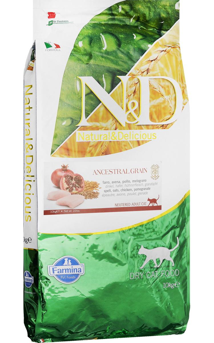 Сухой корм для кошек Farmina N&D Prime Neutered, для стерилизованных, курица, гранат, 10кг