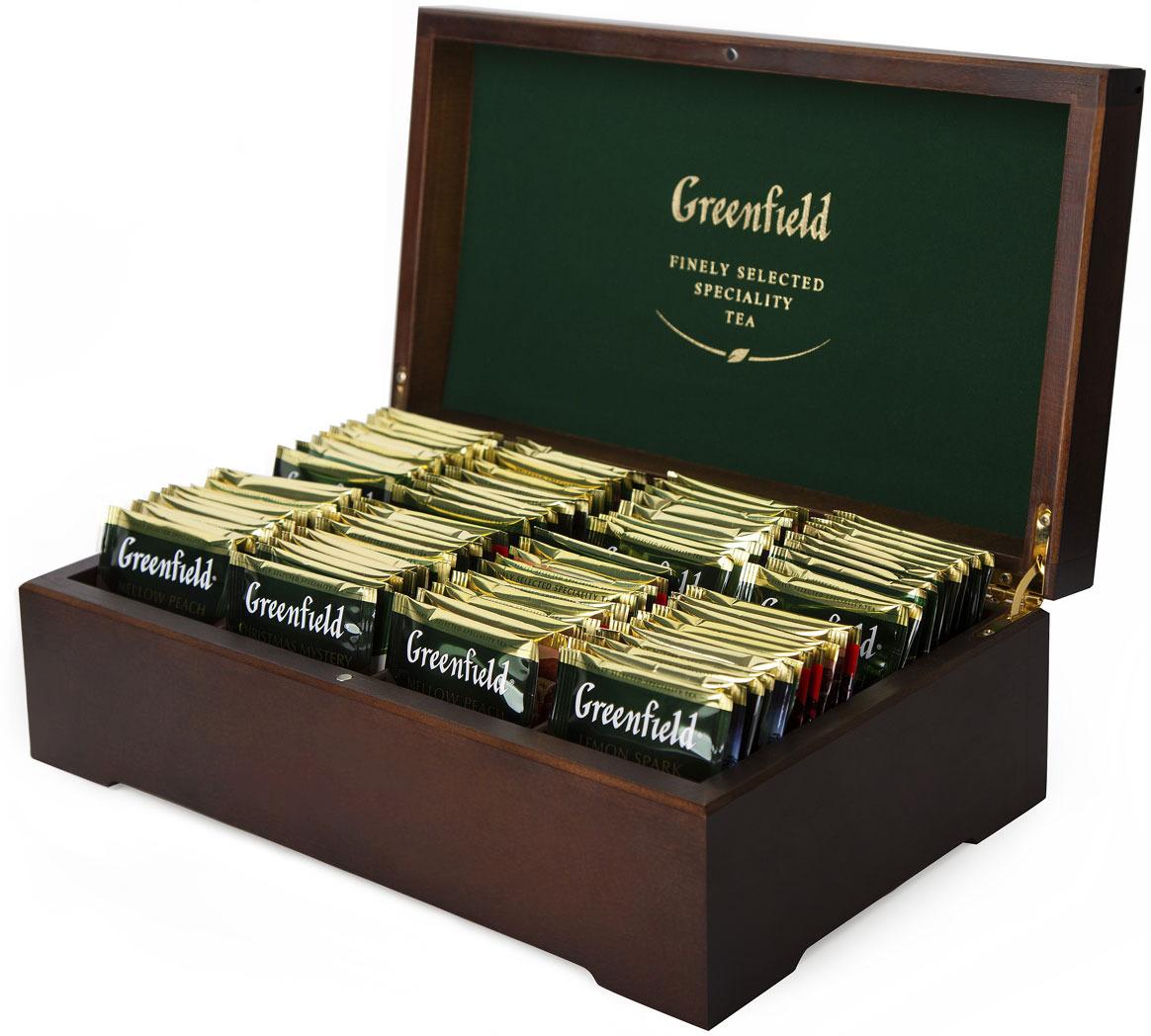 Подарочный набор Greenfield 8 видов чая деревянная шкатулка 98 пакетиков