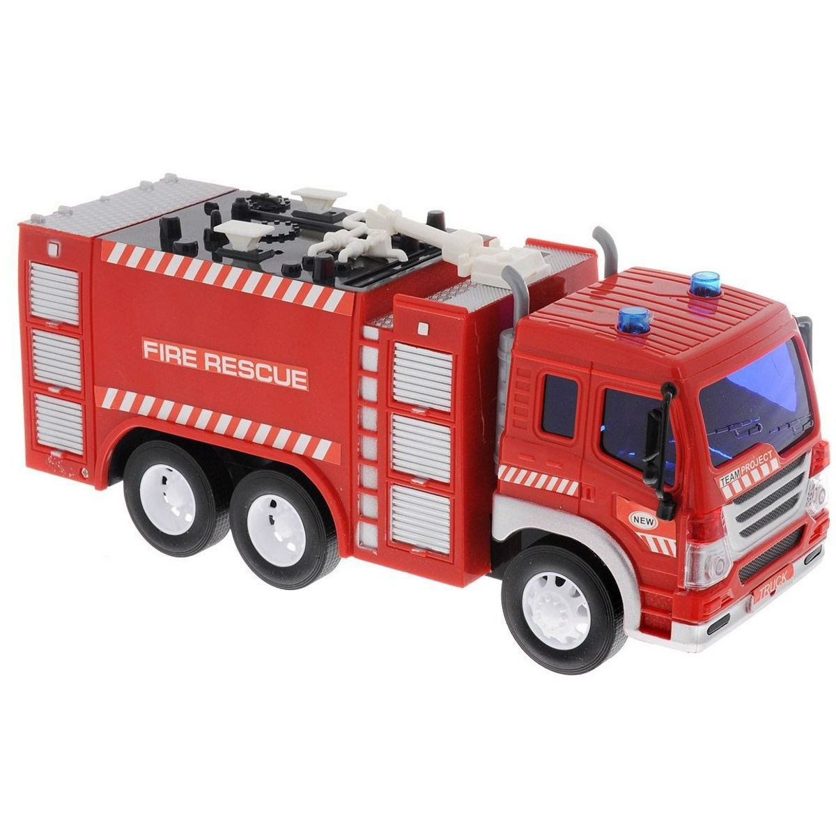 Машина Пожарная 1:16, от 3-х лет, инерционная, световые и звуковые эффекты ABtoys, Спецслужбы  - купить со скидкой