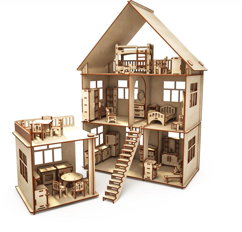 Купить Конструктор-кукольный домик ХэппиДом Коттедж с пристройкой и мебелью из дерева, Хэппикон, Кукольные домики