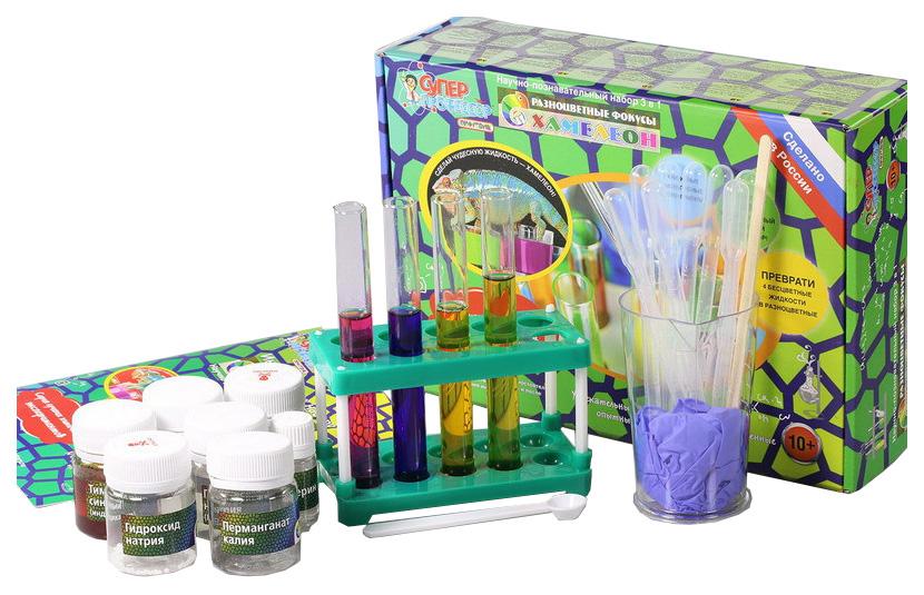 Купить Набор для экспериментов Научные технологии Хамелеон, Разноцветные фокусы 2 в 1, Наборы для опытов