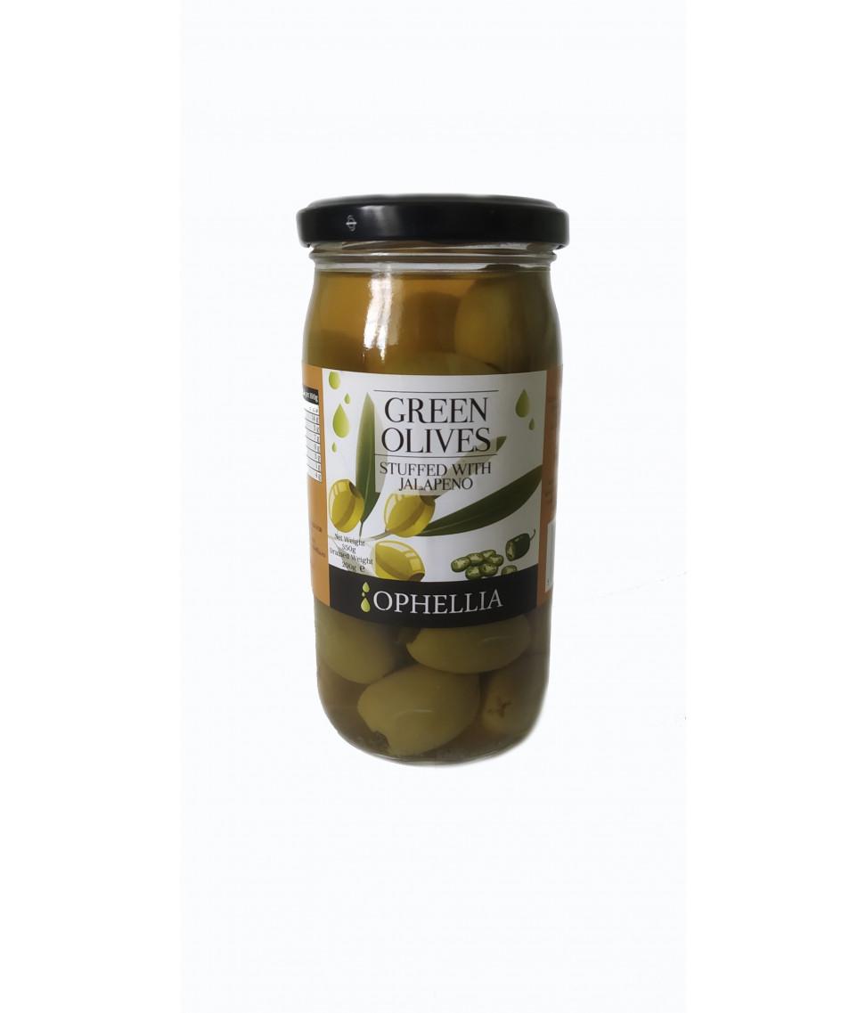 Зеленые оливки Ophellia фаршированные перцем халапеньо 350 г