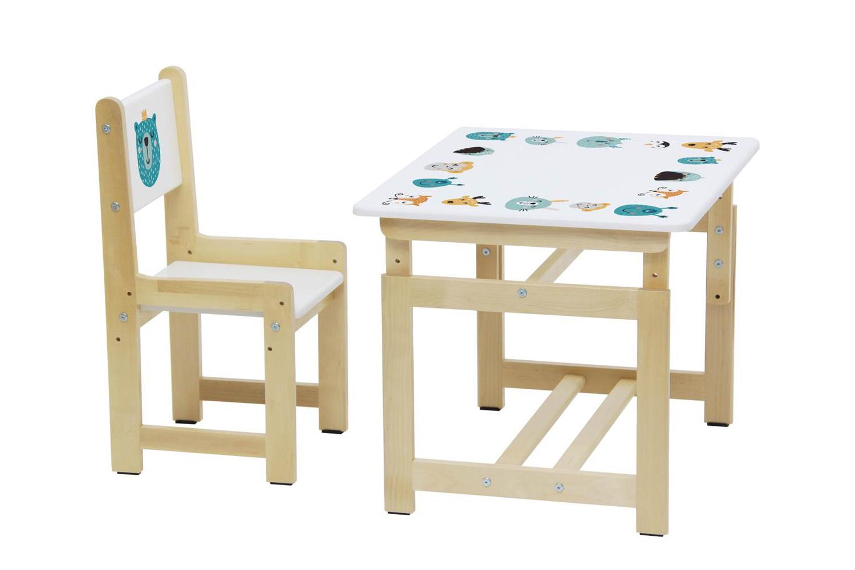 Комплект растущей детской мебели Polini Eco 400 SM Лесная сказка, белый-натуральный Polini Simple Eco 400 SM Лесная сказка белый-натуральный