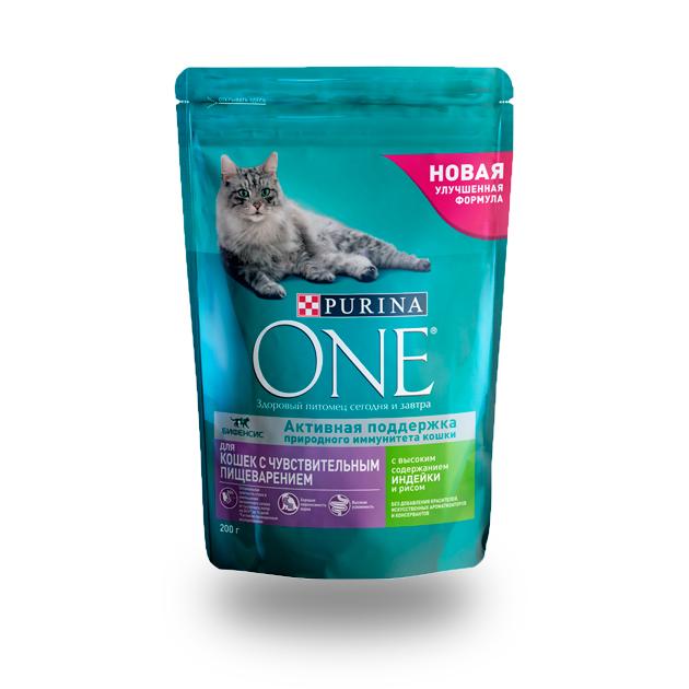 Сухой корм для кошек Purina One, для чувствительного пищеварения, индейка, рис, 0,2кг