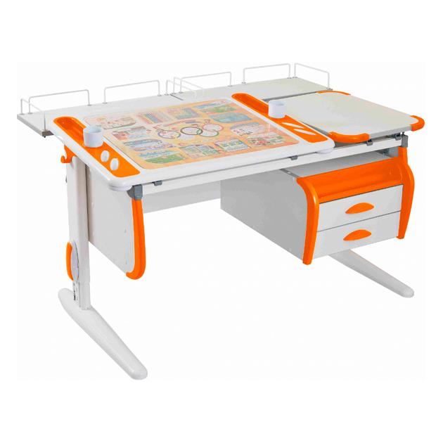 Парта-трансформер Дэми Techno СУТ 31-04 с и задней белый, оранжевый, белый,