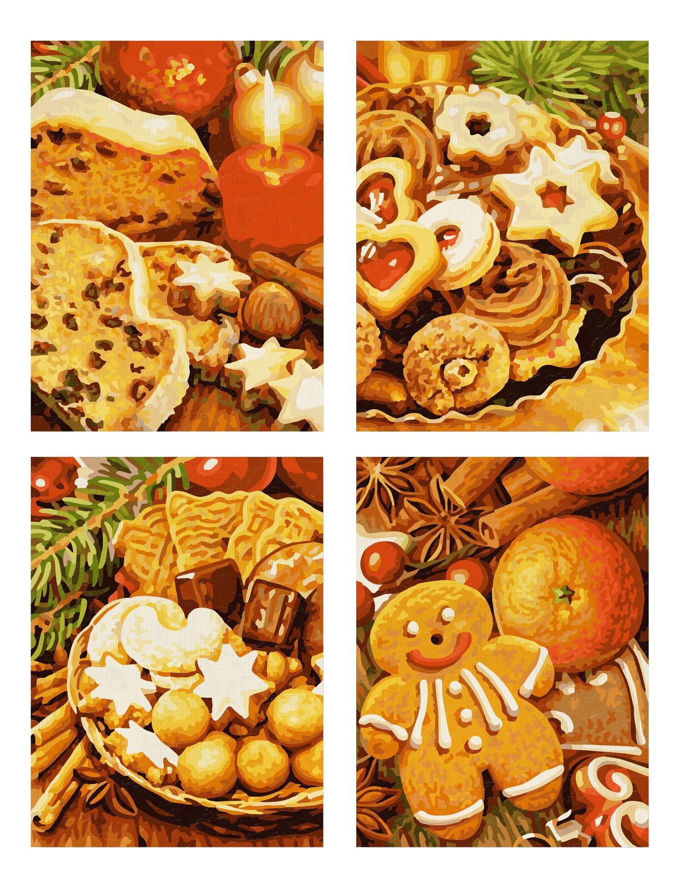 Раскраска по номерам schipper 4 картины, рождественские пряники,18х24 см, 1/6 фото