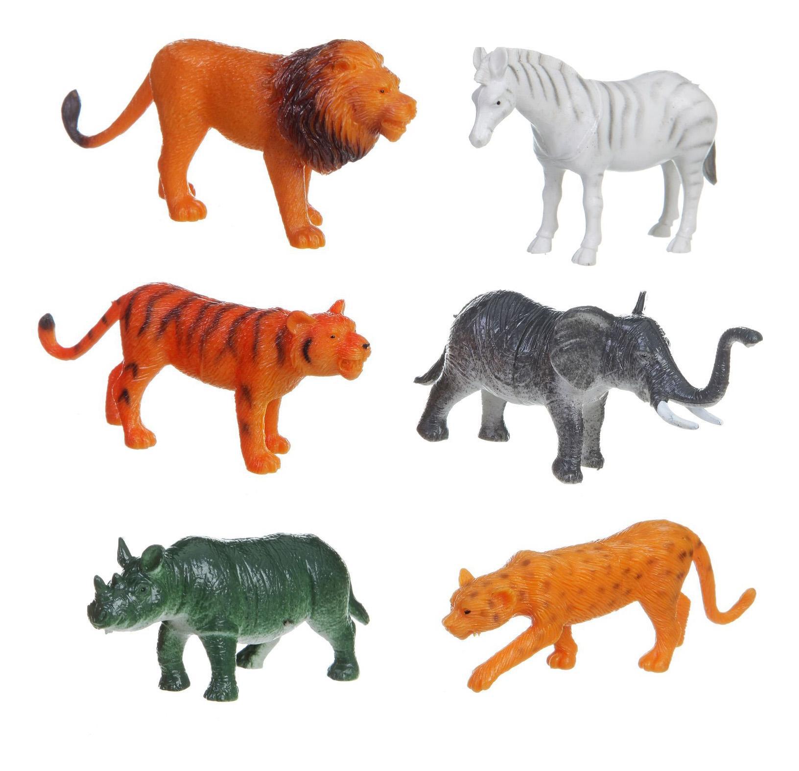 Купить Набор животных Bondibon ребятам о зверятах, дикие животные, 3-4, 6 шт., Фигурки животных