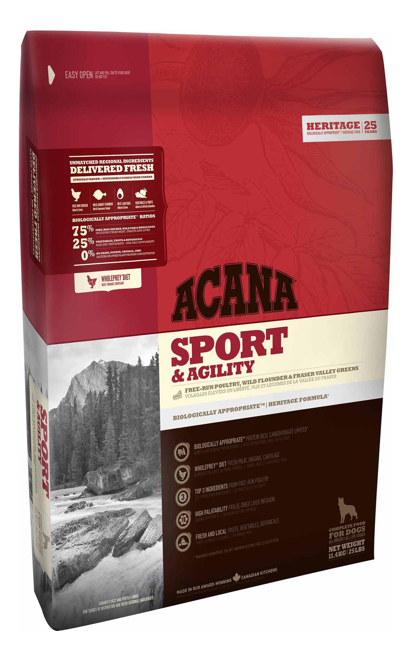 Сухой корм для собак ACANA Heritage Sport & Agility, для активных, цыпленок, 11,4кг фото