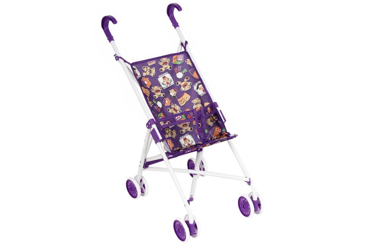 Коляска для кукол Melobo 9302W фиолетовый+мишки