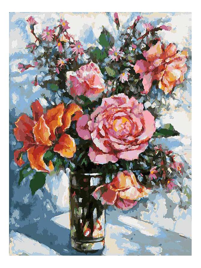 Раскраска по номерам Белоснежка Натюрморт с розами фото