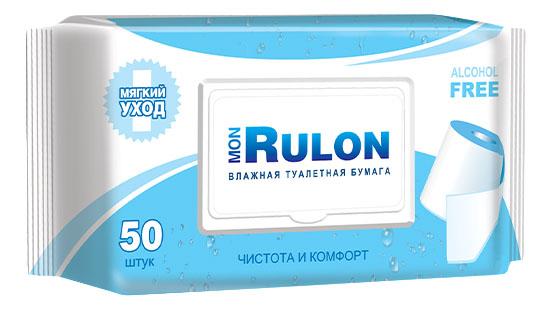 Туалетная бумага Mon rulon c пластиковым клапаном влажная 50 шт..
