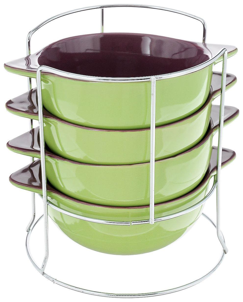 Набор супниц Loraine 24236 Зеленый, фиолетовый