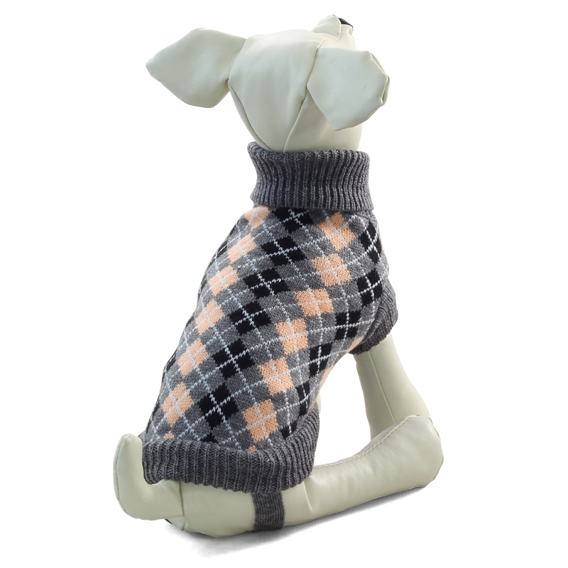 Свитер для собак Triol размер XXL унисекс, серый, черный, оранжевый, длина спины 45 см фото