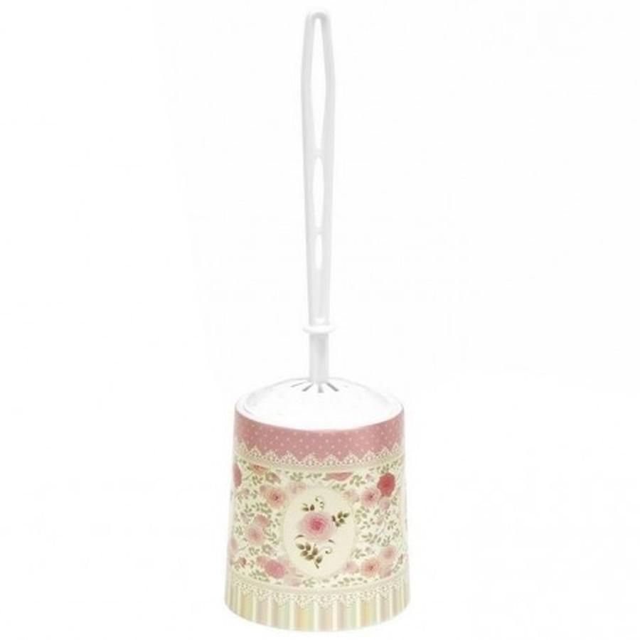 Набор для WC(ёрш+подставка)с декором Чайная роза круглый