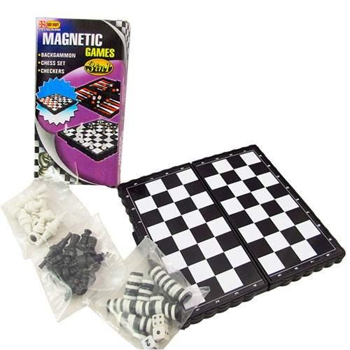 Игра 3 в 1: шашки, шахматы, нарды магнитные TX18674