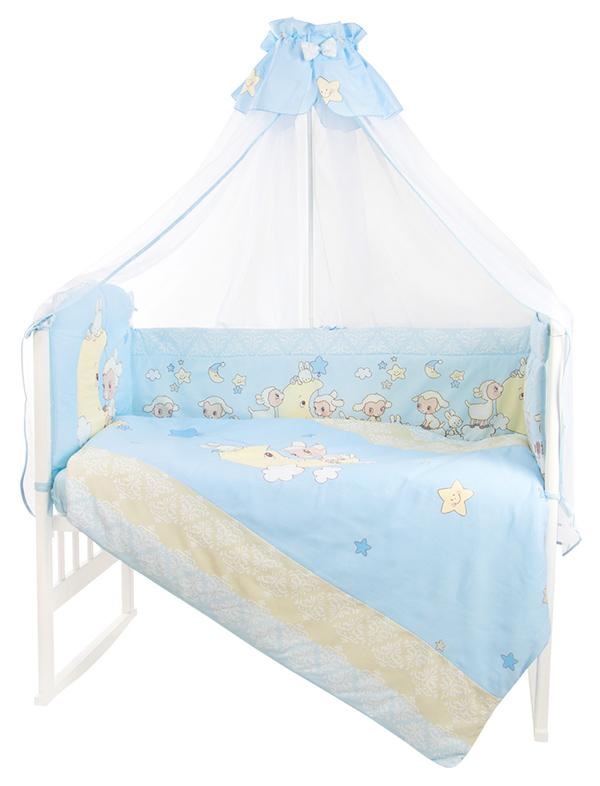 Комплект в кроватку Золотой Гусь Овечка на луне цвет голубой