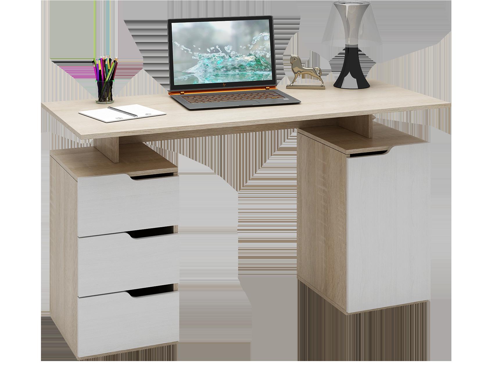 Письменный стол МФ Мастер Нейт-3 Дуб сонома / Белый