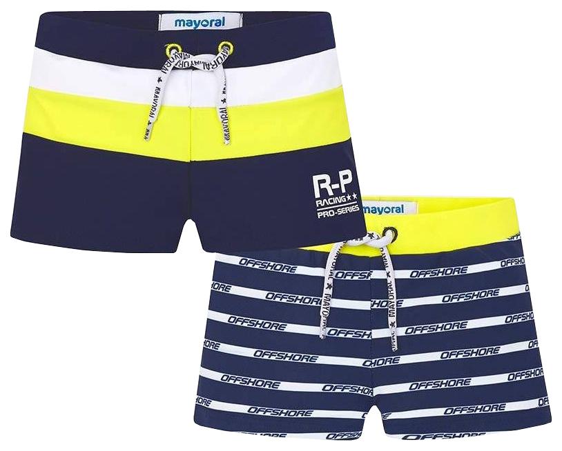 Купить Комплект шорт для купания 2 шт MAYORAL, цв. темно-синий, 128 р-р, Детские плавки для мальчиков