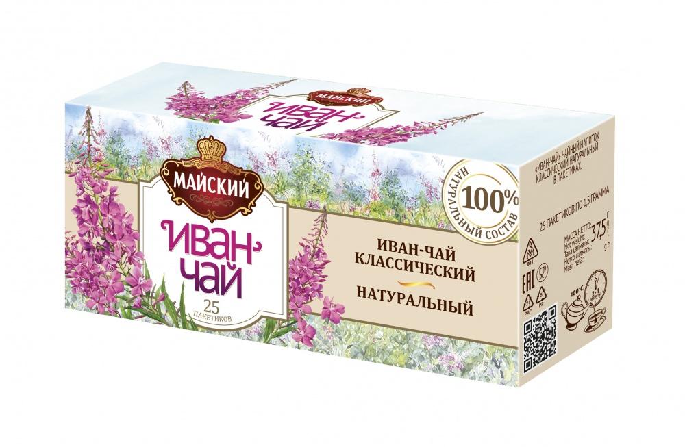 Чай Майский Иван-чай классический натуральный травяной 25 пакетиков фото
