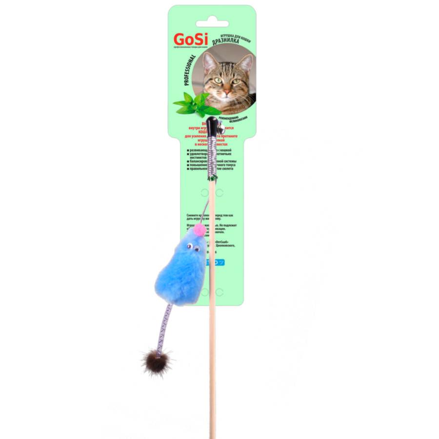 Игрушка для кошек Gosi Мышь с мятой, голубой мех с хвостом из натуральной норки на веревке