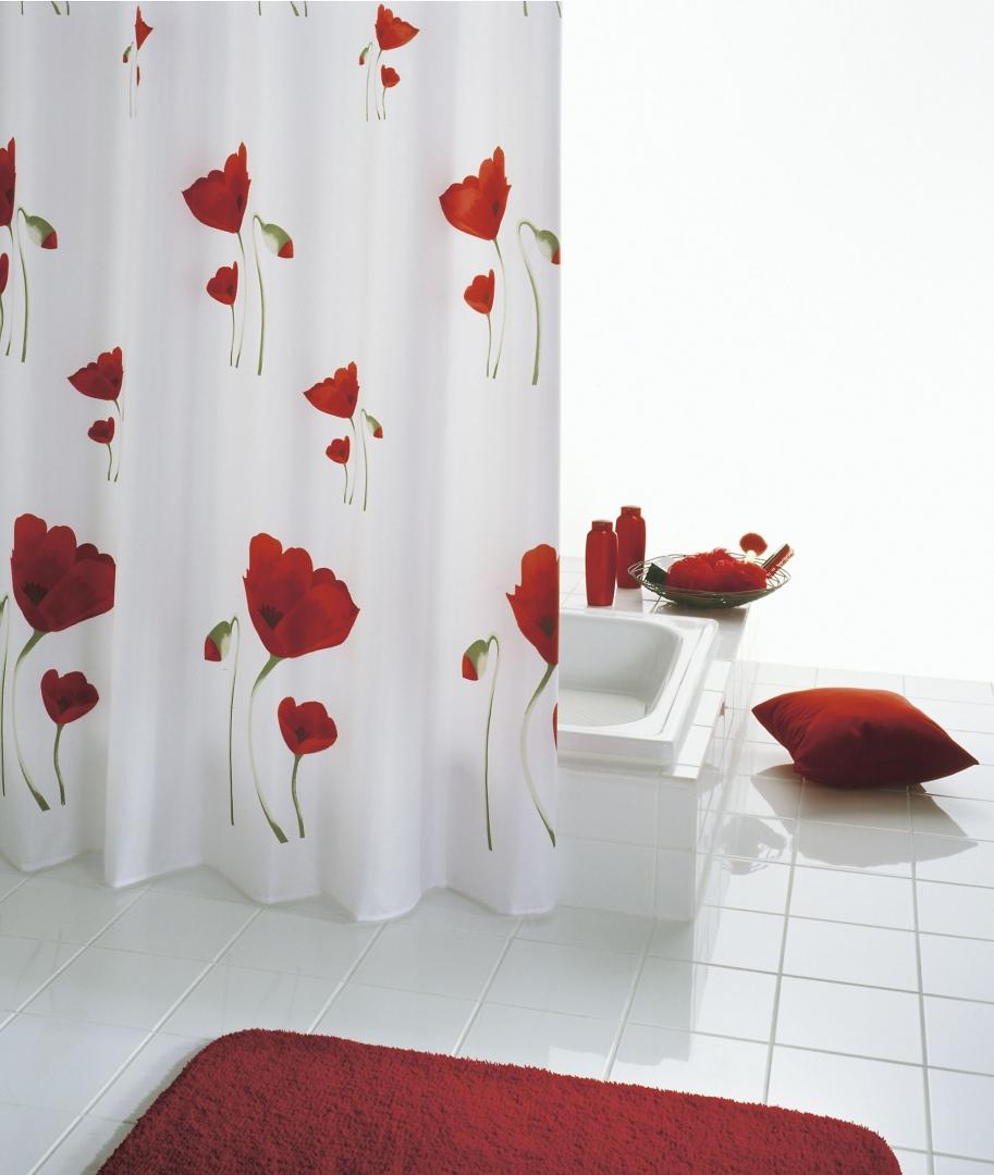 Штора для ванных комнат Mohn красный 180*200