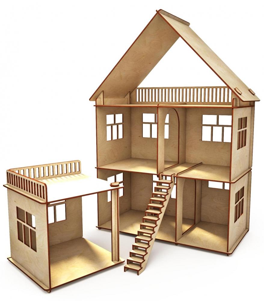 Купить Конструктор-кукольный домик ХэппиДом Коттедж с пристройкой из дерева, Хэппикон, Кукольные домики