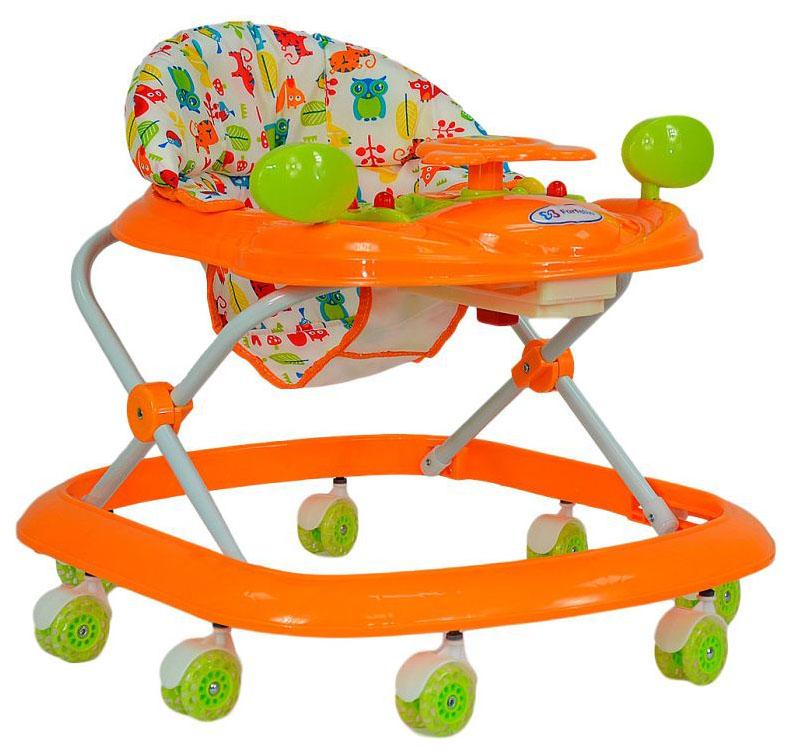 Ходунки детские Farfello 5020 оранжевый, принт зверушки