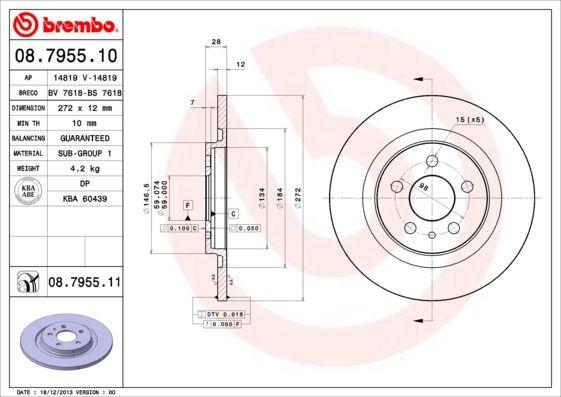 Тормозной диск brembo 08.7955.11