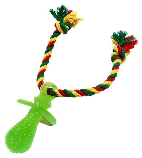 Жевательная игрушка для собак DOGLIKE Соска с канатом и этикеткой, зеленый, длина 35 см