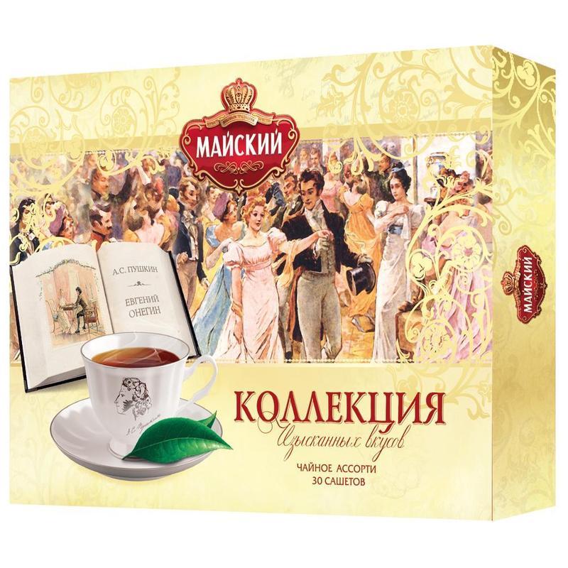 Чай Майский коллекция изысканных вкусов черный с добавками ассорти 30 пакетиков фото