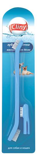 Зубная щетка для животных CLINY К103 + массажер для десен