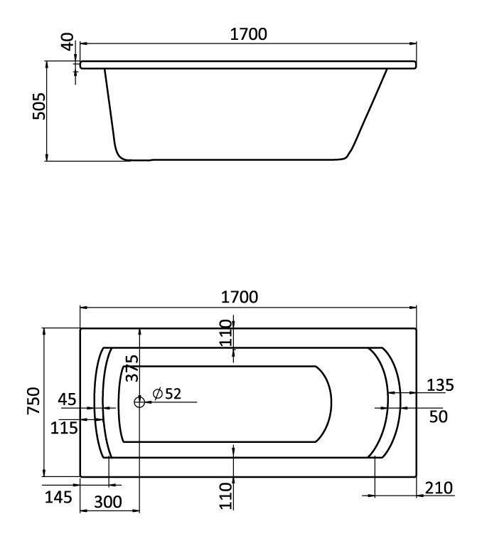 Комплект монтажный Santek для ванны Монако XL 170х75см белый (WH112423)