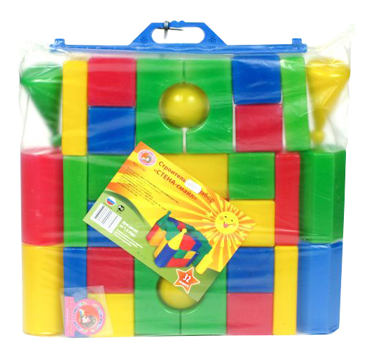 Купить Конструктор пластиковый Строительный Набор Кубиков Стена-Смайл (32 Детали), Счастливое детство, Конструкторы пластмассовые