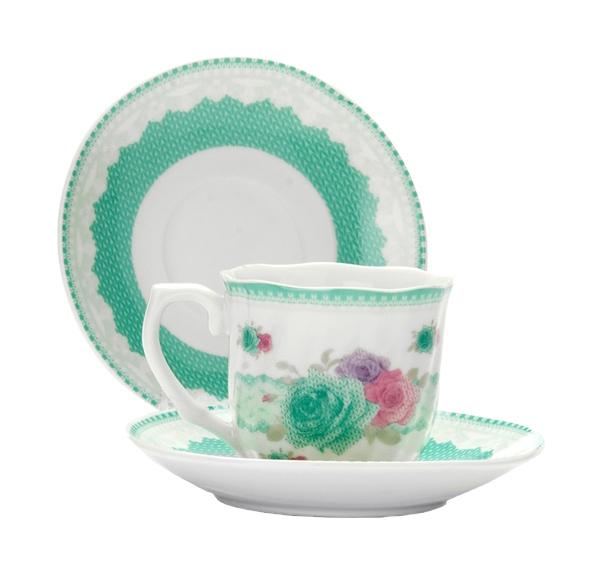 Кофейный набор Lorane 25962 Белый, розовый, салатовый
