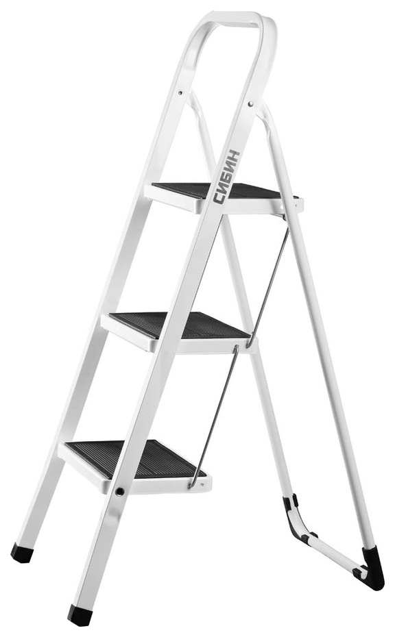 Лестница-стремянка СИБИН стальная c широкими ступенями, 3 ступени фото