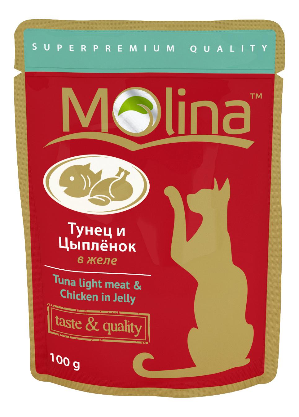 Влажный корм для кошек Molina, рыба, цыпленок, 100г