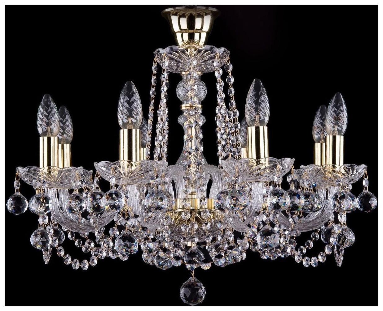 Люстра подвесная Bohemia Ivele Crystal 1402/8/195/G/Balls/Tube фото