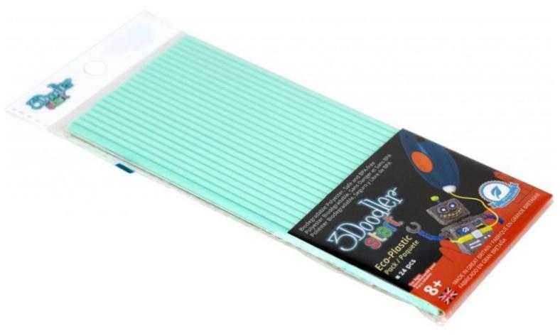 Купить Эко-пластик к 3Д ручке 3Doodler Start, цвет мятный 24 шт, Wobble Works, 3D ручки