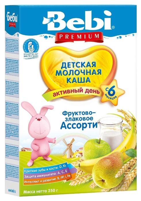 Купить Злаковая с фруктовым ассорти 250 г, Молочная каша Bebi Злаковая с фруктовым ассорти с 6 мес 250 г, Детские каши