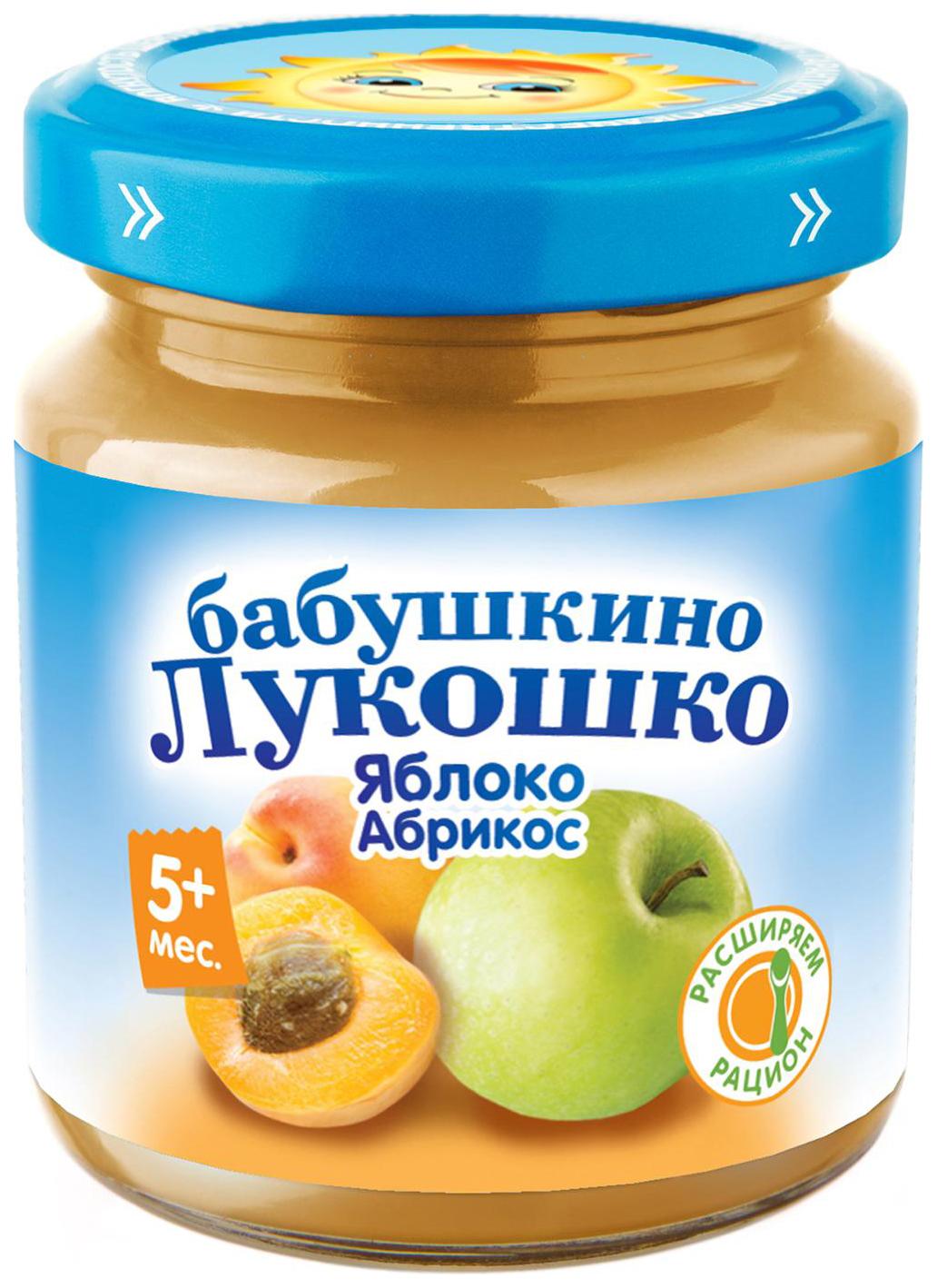 Пюре фруктовое Бабушкино Лукошко Яблоко-абрикос с 5 мес. 100 г