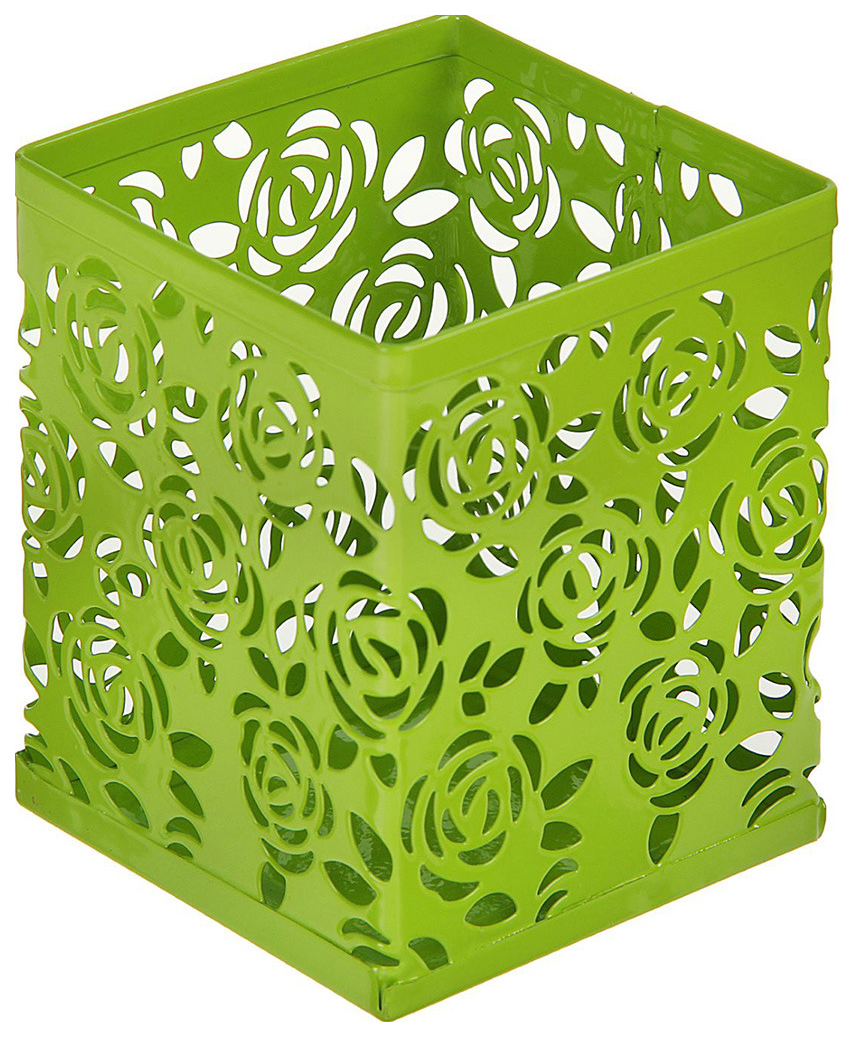 Стакан для пишущих принадлежностей, квадратный, узор, металлический, зелёный Calligrata