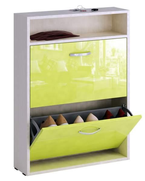 Обувница MFMaster Милан-25 МСТ-ОДМ-25У 60х17х88,2 см, дуб молочный/лайм глянец