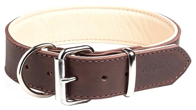 Ошейник для собак Gripalle Гросс, кожаный, стальная фурнитура, коричневый, 40мм х 55см
