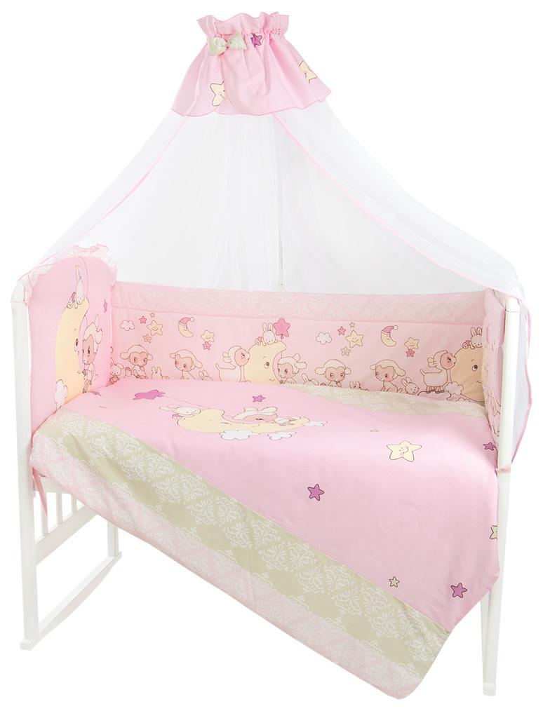 Комплект в кроватку Золотой Гусь Овечка на луне цвет розовый
