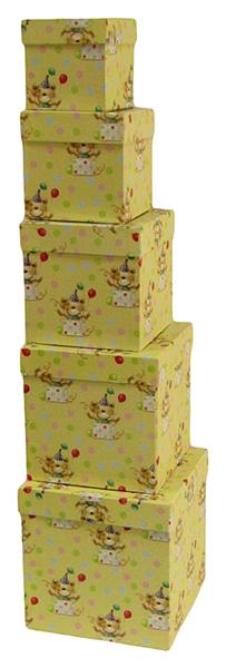 Набор подарочных картонных коробок С днем варенья, 5 шт. от 9x9x9 см до 17x17x17 см