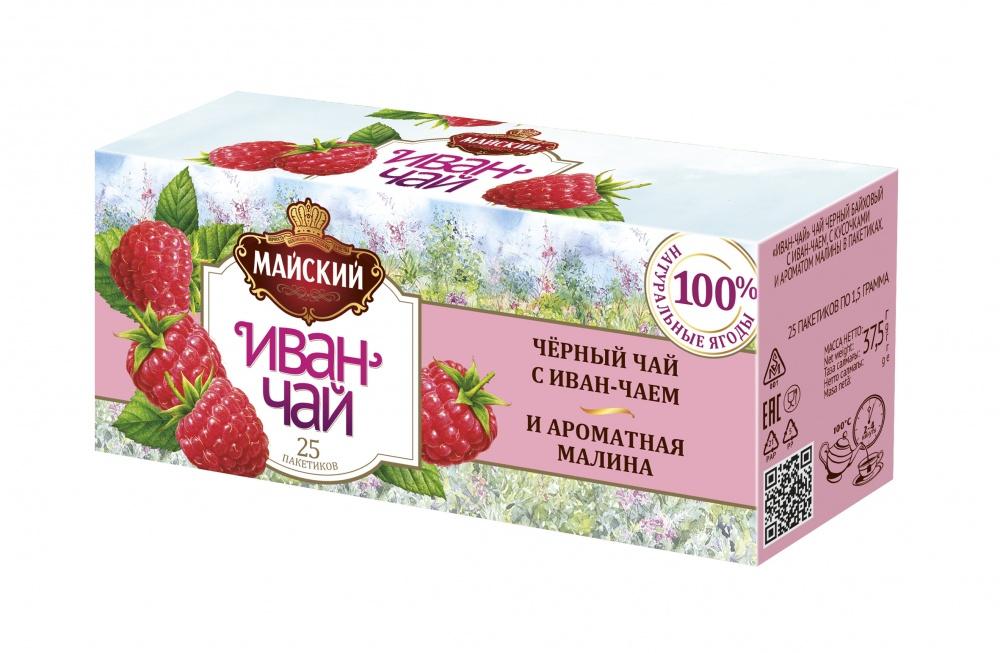 Чай Майский Иван-чай с черным чаем и ароматной малиной 25 пакетиков фото