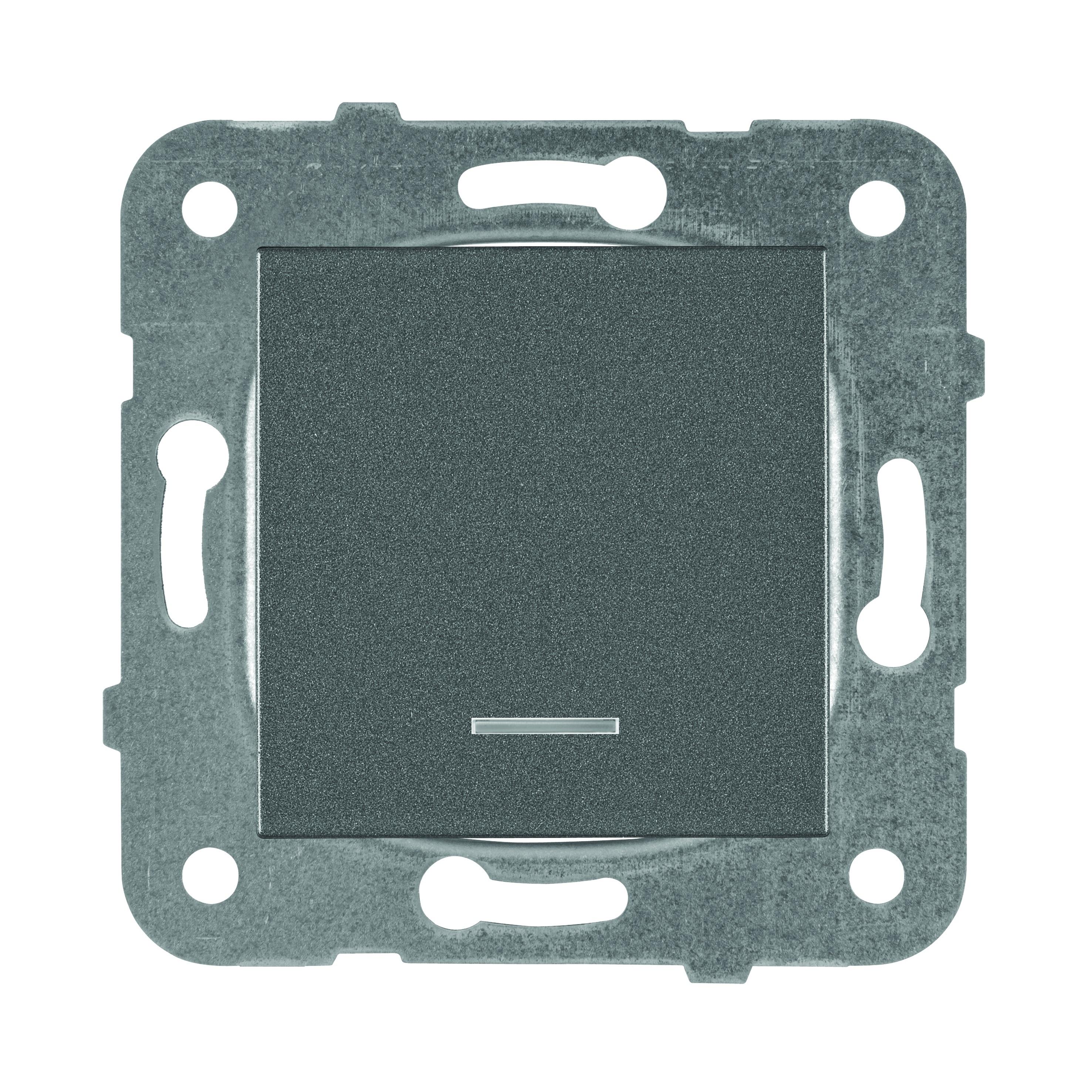 Выключатель 1кл с подсветкой, тёмно-серый Karre Plus